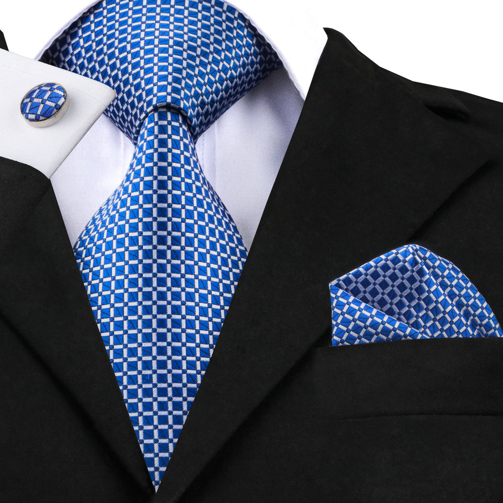 Attractive Navy Blue Plaid Tie Handkerchief Cufflinks Set