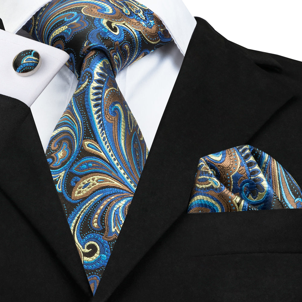 Elegent Blue Yellow Floral Tie Handkerchief Cufflinks Set