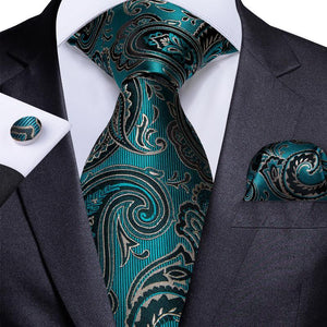 Blue-Green Black Paisley Floral Men's Tie Handkerchief Cufflinks Set (1963857412138)