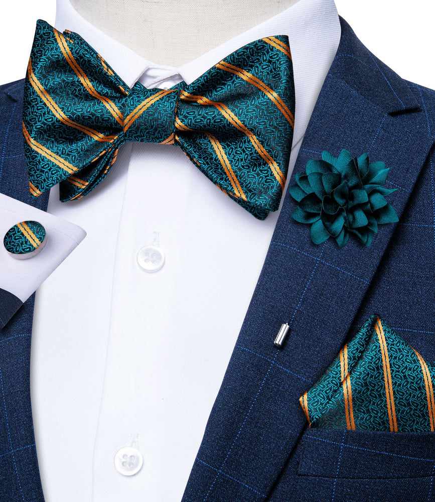 Teal Orange Striped Self-Bowtie Pocket Square Cufflinks Set With Brooch