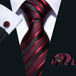 Burgundy Black Striped Men's Tie Handkerchief Cufflinks Set