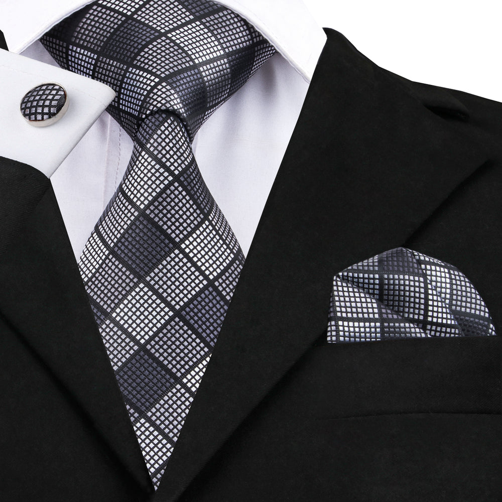 Black Grey Plaid Tie Handkerchief Cufflinks Set