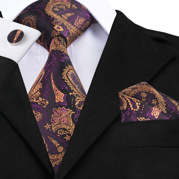 Purple Yellow Paisley Tie Pocket Square Cufflinks Set