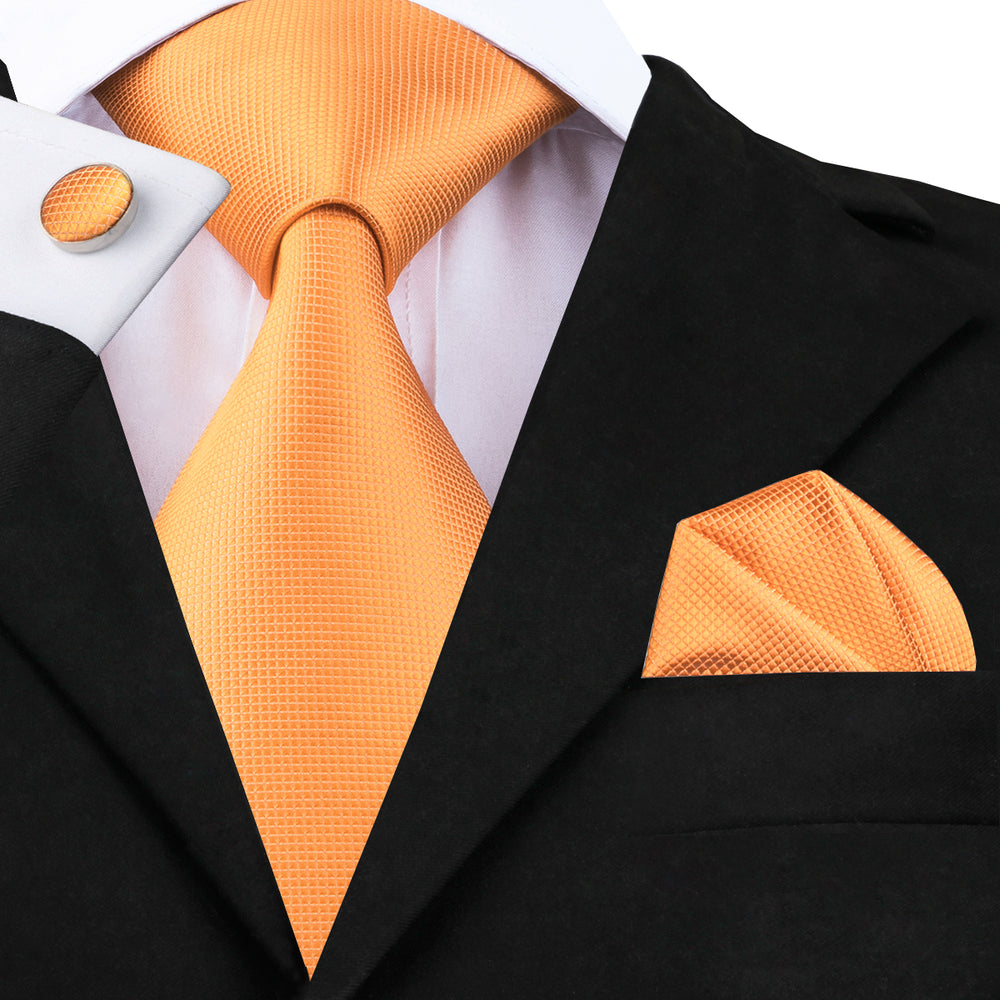 Orange Solid Tie Pocket Square Cufflinks Set
