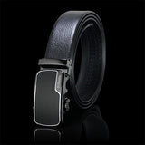 Classic Black Automatic Buckle Brown Leather Belt