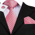Pink Black Polka Dot Tie Handkerchief Cufflinks Set