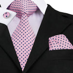 Pink Polka Dot Necktie Pocket Square Cufflinks Set