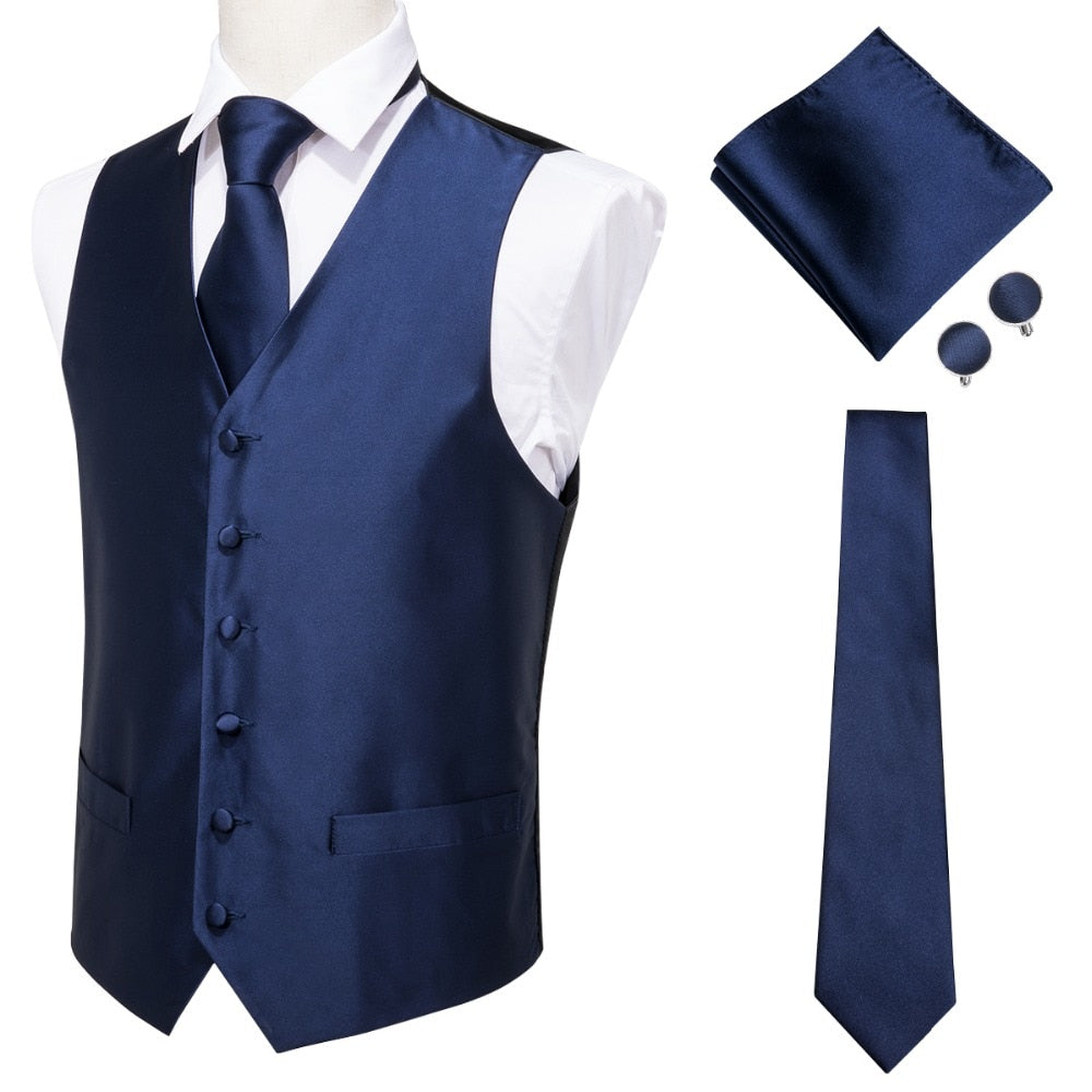 Men's Classic Blue Silk Jacquard Vest Handkerchief Cufflinks Solid Tie Set