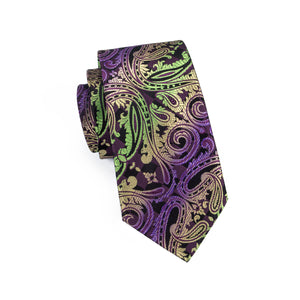 Load image into Gallery viewer, Purple Green Paisley Tie Pocket Square Cufflinks Set