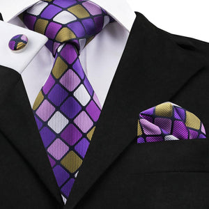 Purple Yellow Plaid Men's Tie Set Tie Pocket Square Cufflinks Set