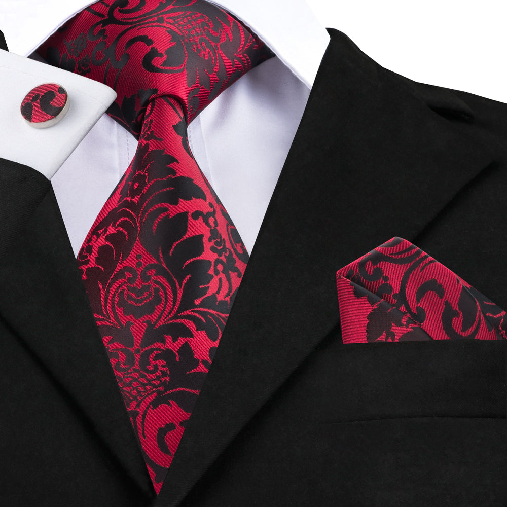 Black Red Floral Tie Handkerchief Cufflinks Set