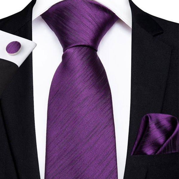Purple Striped Men's Tie Handkerchief Cufflinks Set
