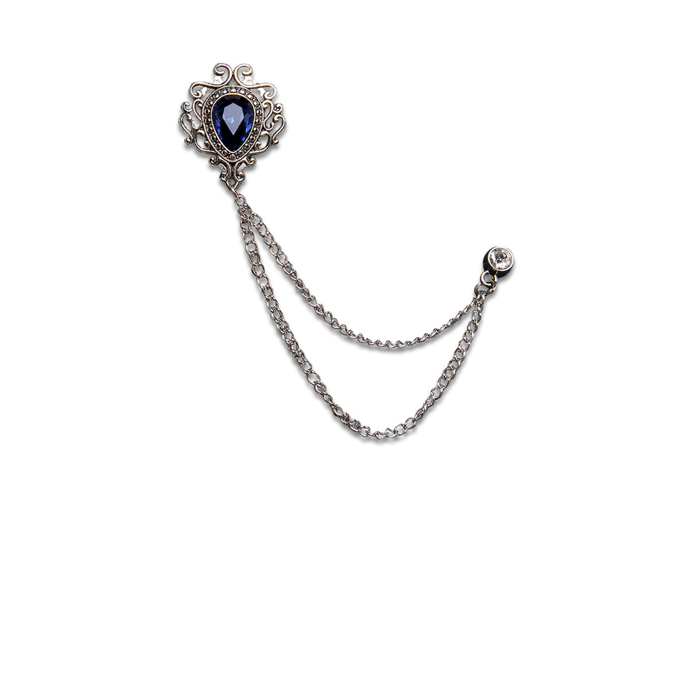 New Silver Luxury Sapphire Metal Chain Lapel Pin