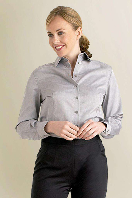 Womens Grey Collard Restaurant Shirt - Fashionizer Uniforms