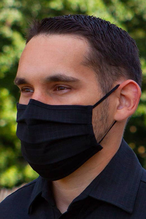 Mens black face covering