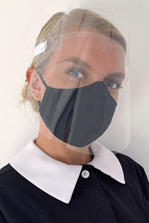 face shield with black face mask