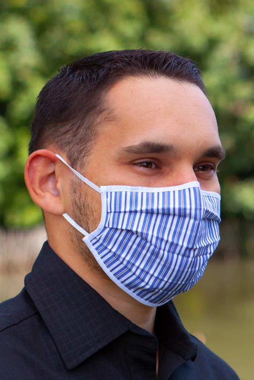 Blue striped fashionable face mask