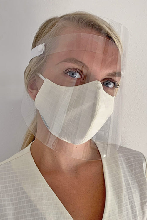 face shield and white washable mask