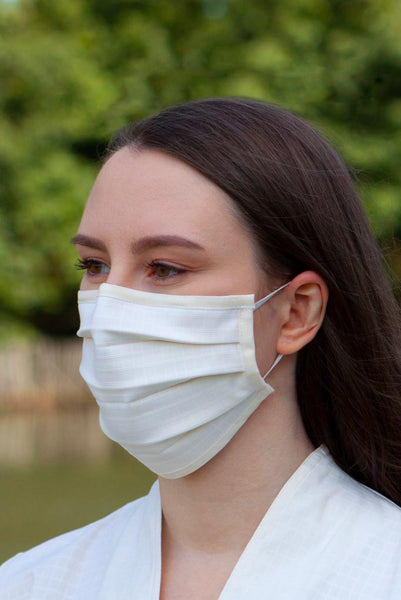 White Pleated Face Mask