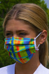 Colourful printed fabric face mask
