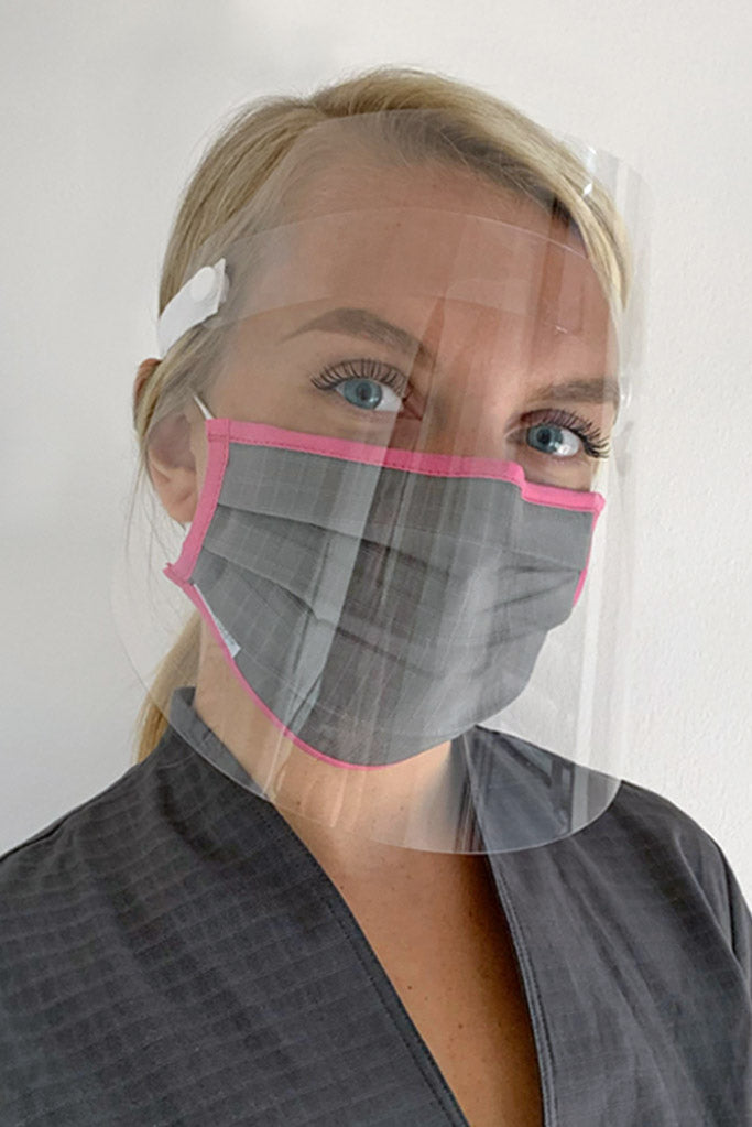 Protective face shield and grey mask