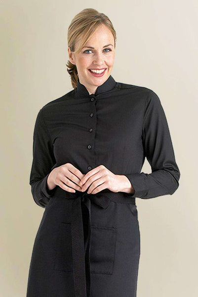 Womens Black Restaurant Blouse Mandarin Collar - Fashionizer Uniforms