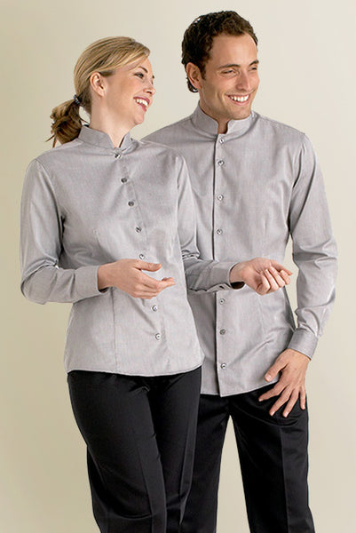 Womens Grey food and beverage Blouse