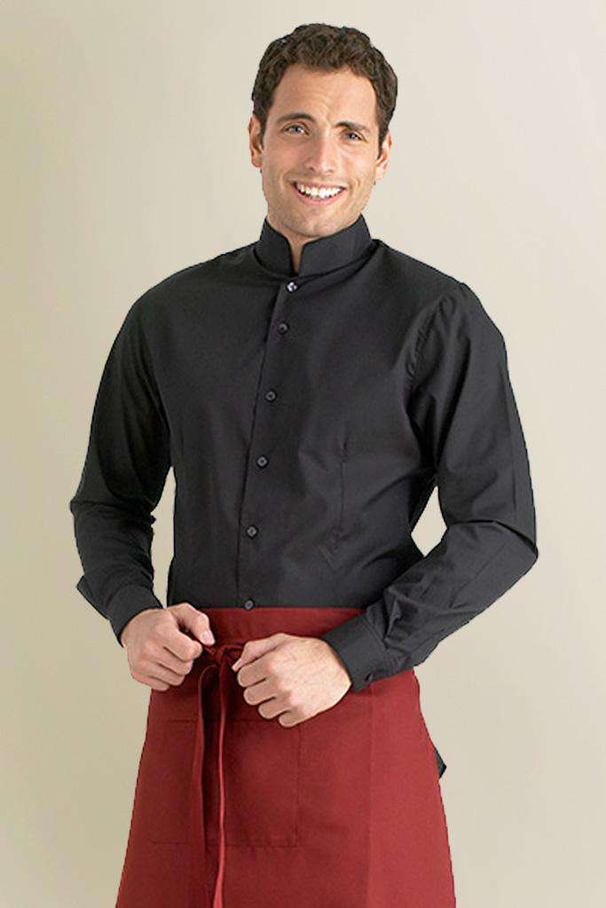 Mandarin Collar Black Restaurant Shirt