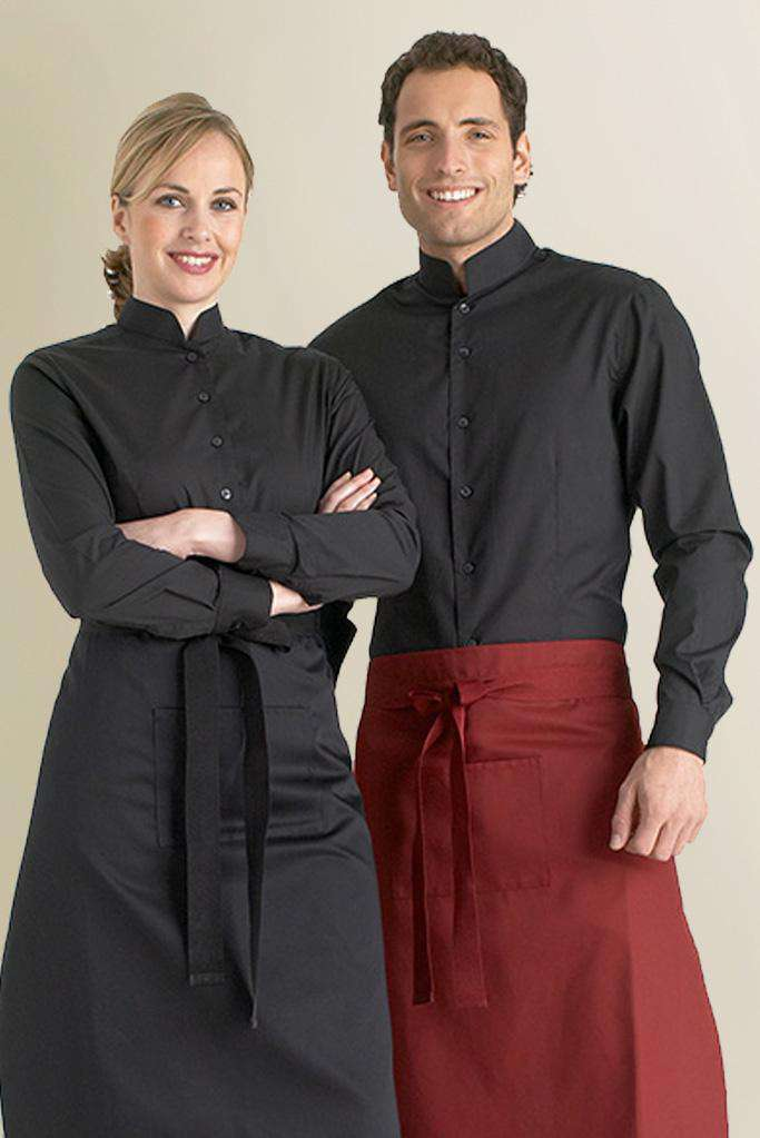 Mens Mandarin Collar Black Restaurant Shirt