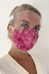 Pink face mask and face shield