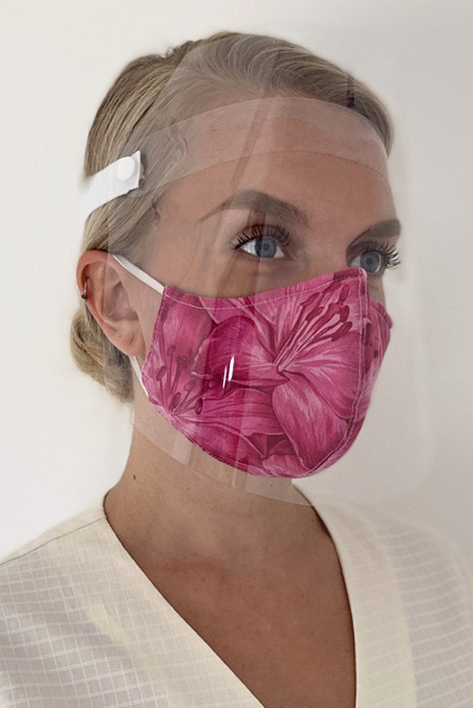pink cotton mask and face visor