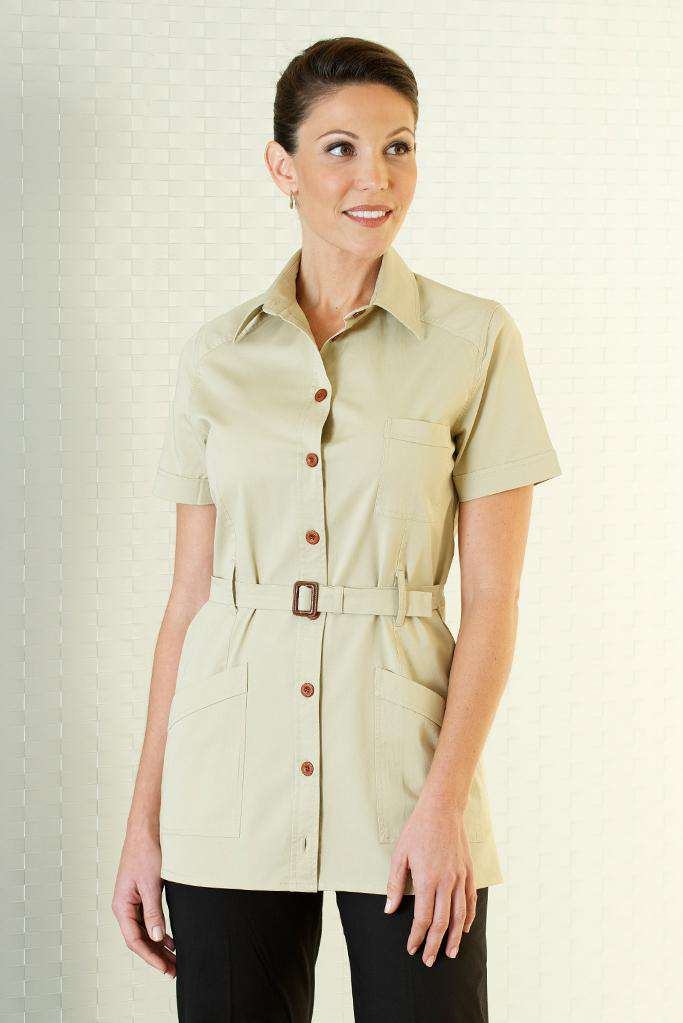 Beige Belted Housekeeping Stylish Tunic