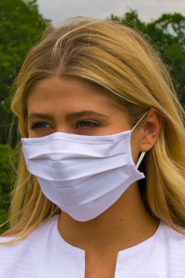 White Pleated Wellness Face Mask