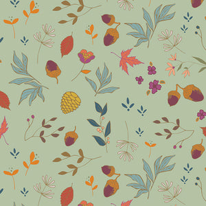 AGF Woven - Acorns and Pinecones Mint, Autumn Vibes Collection
