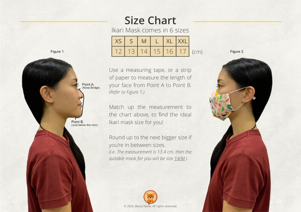 Adult's size Ikari Reusable Fabric Mask with Filter Slot (3D Origami)