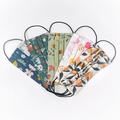 Fabric Face Mask 100% Premium Cotton (Pack of 5 Seasonal Florals)