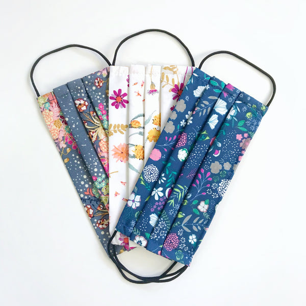 Fabric Face Mask 100% Premium Cotton (Pack of 3 Fireworks Florals)