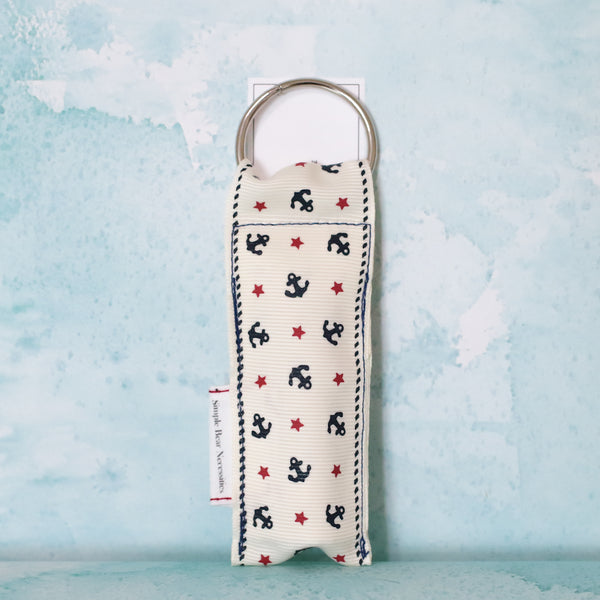 Sailor Anchors Lip Balm Holder in White