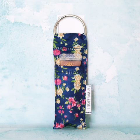 Tiny Florals Lip Balm Holder in Navy Blue