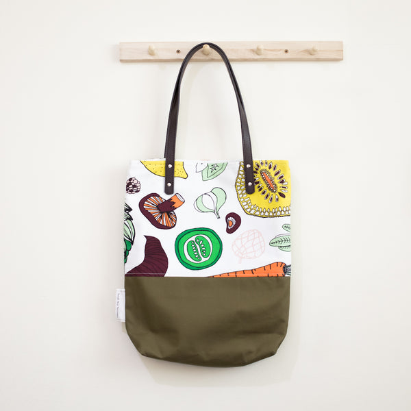 Salad Party Olive Leather Straps Shoulder Tote Bag