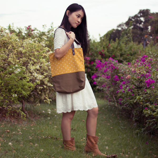 Mustard Olive Polka Dots Leather Straps Shoulder Tote Bag