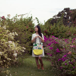 Salad Party Lemon Yellow Leather Straps Shoulder Tote Bag