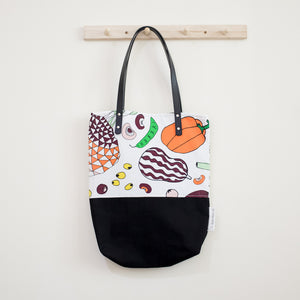 Salad Party Black Leather Straps Large Shoulder Tote Bag