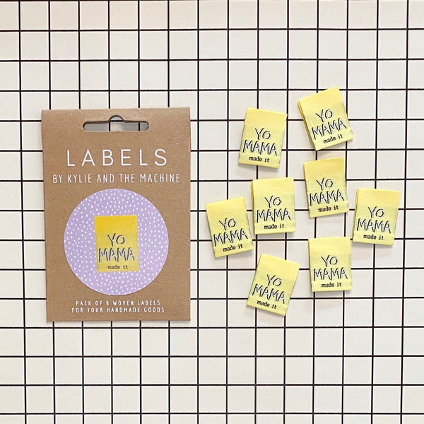 """YO MAMA MADE IT"" Woven Clothing Labels (Pack of 8)"