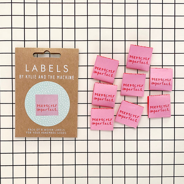 """PERFECTLY IMPERFECT"" Woven Clothing Labels (Pack of 8)"