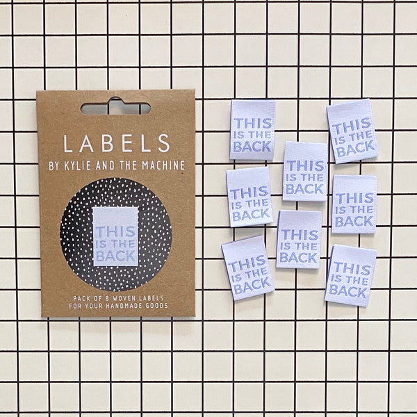"""THIS IS THE BACK"" Woven Clothing Labels (Pack of 8)"