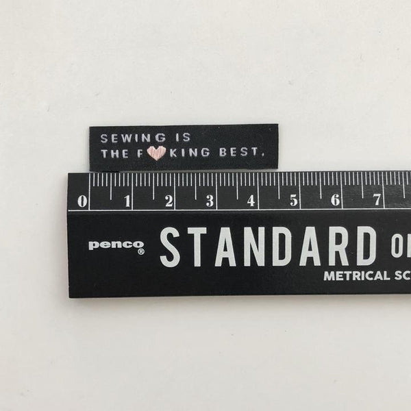 """SEWING IS THE F*CKING BEST"" Woven Clothing Labels (Pack of 8)"