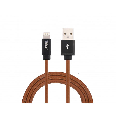 Tellur Data Cable USB - Lightning Mfi Leather - Brown