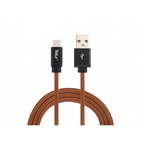Tellur Data Cable USB - Type-C Leather - Brown