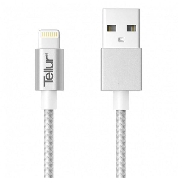 Iphone Cable Tellur USB - lightning nylon 1m, silver